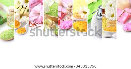 Portrait of spa concept collage. soap and essentials spa objects. with copyspace - stock photo