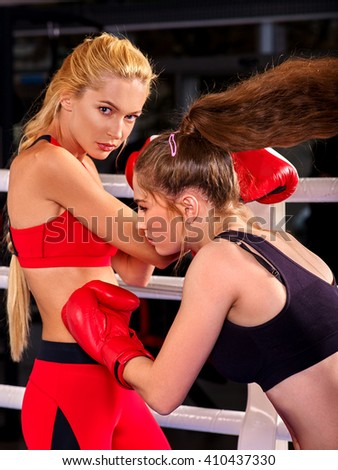 Portrait of sport girl boxing. - stock photo