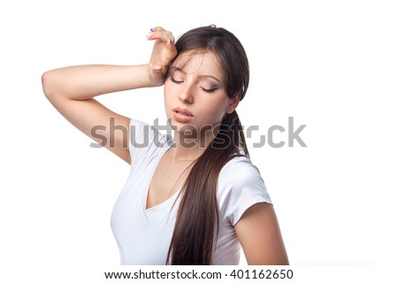 Portrait of sporty woman look tired after workout isolated on white background - stock photo