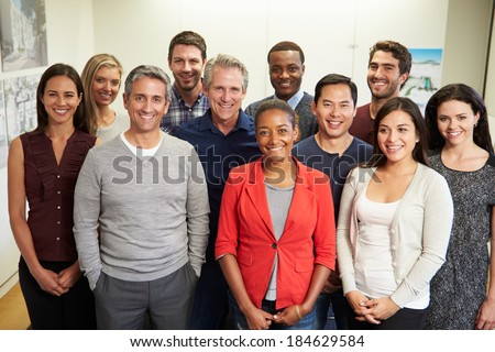 Portrait Of Staff In Modern Multi-Ethnic Office - stock photo