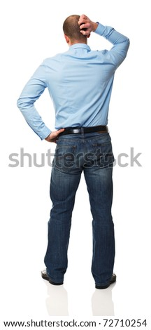 portrait of standing man thinking isolated on white background