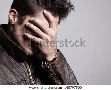 Portrait of stressed men - stock photo