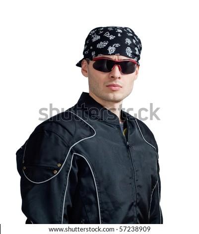 portrait of strict biker. white background - stock photo