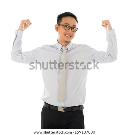Portrait of strong muscle Asian businessman smiling isolated on white background. Asian male model. - stock photo