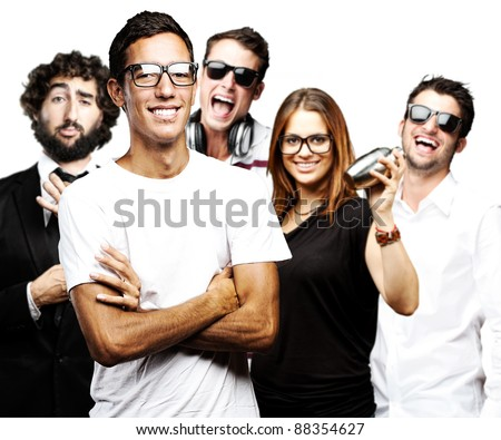 portrait of student´s group smiling and joking against a white background - stock photo