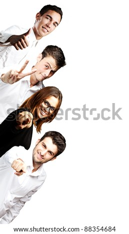 portrait of student´s group smiling indoor background - stock photo