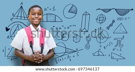 Portrait of student with schoolbag against blue background