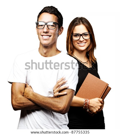 portrait of students group smiling over white background
