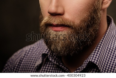 Portrait of stylish bearded man isolated on gray.