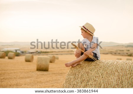 Portrait of stylish boy in a summer hat sitting on a haystack in a field of wheat - stock photo