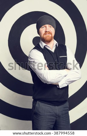 Portrait of stylish business man with a beard. - stock photo
