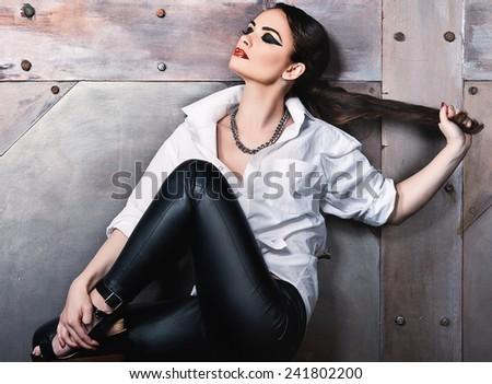 portrait of stylish woman - stock photo