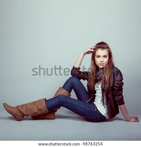 Portrait of stylish young model - stock photo