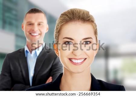 Portrait of successful business couple - stock photo