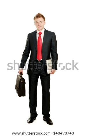 Portrait of successful business man with bag, isolated on white background - stock photo