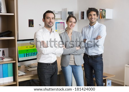 Portrait of Successful business team in office - stock photo