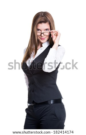 Portrait of successful business woman in a gray suit and glasses - isolated on white.