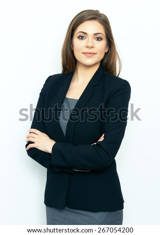 Portrait of successful business woman on white background. Professional portrait. - stock photo