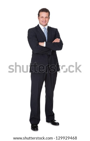 Portrait of successful businessman. Isolated on white background - stock photo