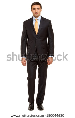 Portrait of successful businessman. man in suit with tie, Isolated on white - stock photo