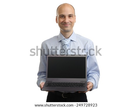 Portrait of successful businessman with laptop. Isolated on white