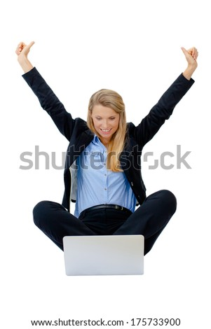 Portrait of successful businesswoman with clenched fist and holding arms up. An image of success, victory, a winner. Isolated on white background. Copy space. - stock photo
