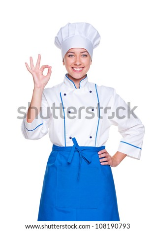 portrait of successful cook in uniform over white background