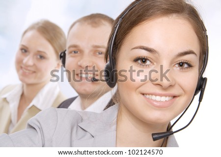 Portrait of successful customer service representatives - stock photo