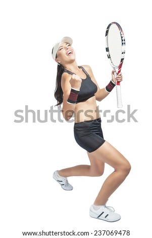 Portrait of Successful Exclaiming Sportswoman with Racket. Healthy lifestyle. Isolated over pure white background.Vertical Image Composition - stock photo