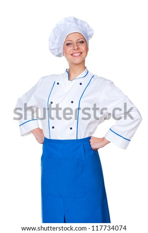 portrait of successful female cook over white background - stock photo