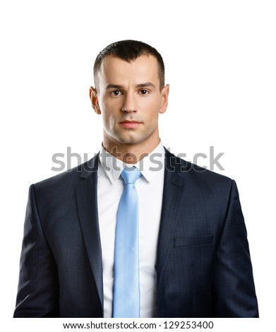 Portrait of successful manager, isolated on white - stock photo