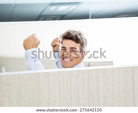 Portrait of successful manager with arms raised in cubicle - stock photo
