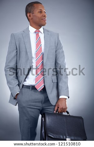Portrait of successful professional in suit holding briefcase - stock photo