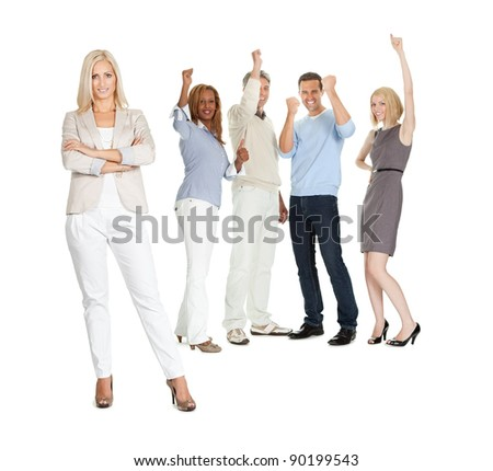 Portrait of successful young lady with excited people in background on white - stock photo