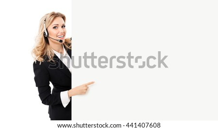 Portrait of support phone operator in headset showing blank signboard with copyspace area for text or slogan, isolated against white background