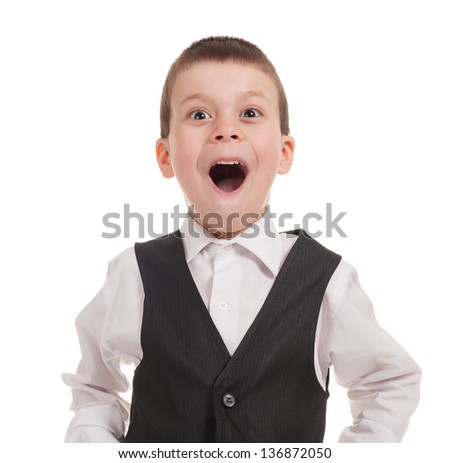 portrait of surprised boy on white - stock photo