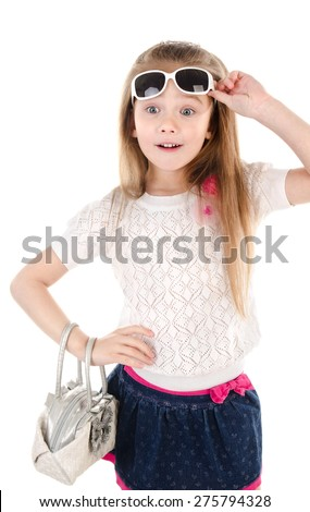 Portrait of surprised cute little girl isolated on a white - stock photo