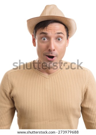 portrait of surprised man isolated over white background - stock photo