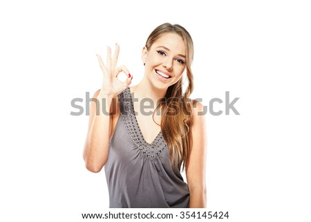 portrait of surprised woman over white background - stock photo