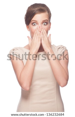 Portrait of surprised young beautiful woman covering her mouth by hands. Isolated on white background