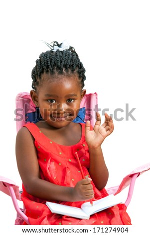 Portrait of sweet african girl with note book waving hand.Isolated on white background. - stock photo