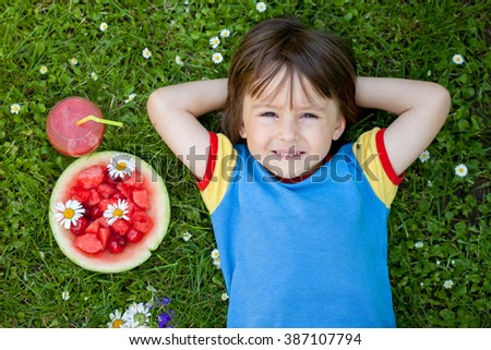 Portrait of sweet little boy, lying on the grass, fresh fruits and healthy drink next to him on the grass, daisies around him, shot from above - stock photo