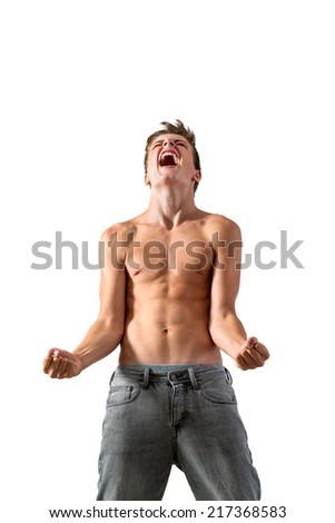 Portrait of Teen boy screaming of frustration.Isolated on white background.