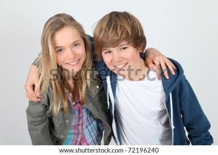 Portrait of teenagers standing on white background - stock photo