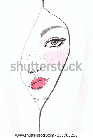 Portrait of tender girl. Ink and watercolor. - stock photo