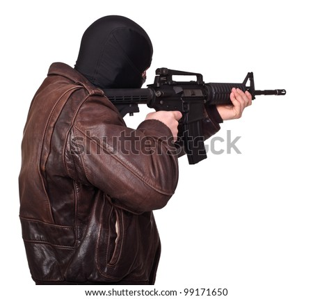 portrait of terrorist back view - stock photo