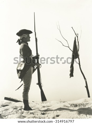 Portrait of 18th century soldier looking at flag