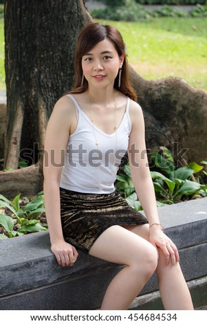 Portrait of thai adult women office beautiful girl relax and smile
