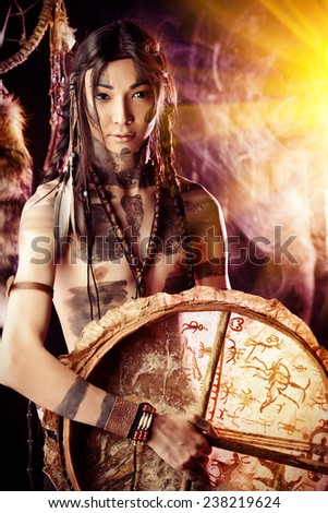 Portrait of the American Indian. Ethnicity and history. Art project. - stock photo