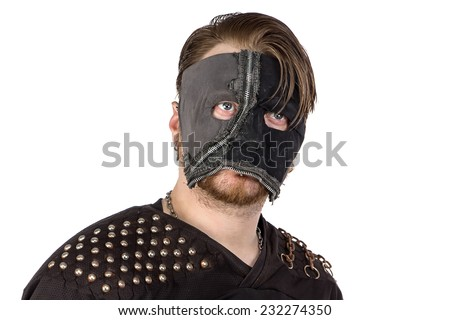 Portrait of the angry man in mask on white background